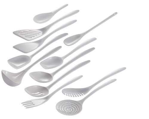 Hutzler 3500-12WH Set of 12 Cook & Serve melamine utensil set, Full Size, White ()