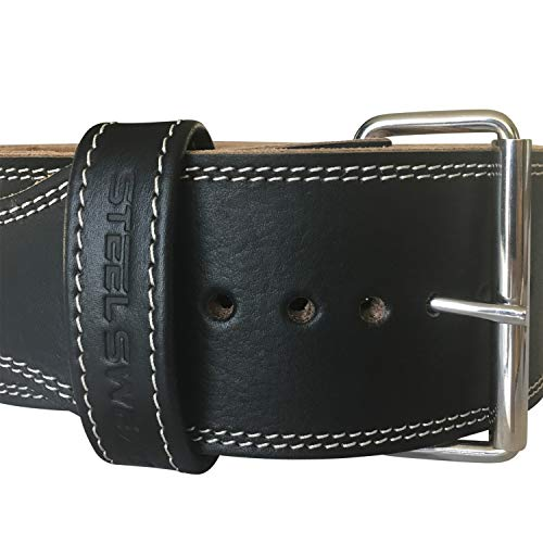 Steel Sweat Weight Lifting Belt - 4 Inches Wide by 10mm - Single Prong Powerlifting Belt That's Heavy Duty - Genuine Cowhide Leather - Large Texus by Steel Sweat (Image #7)