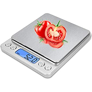 Food Scale, Kitchen Scale, High-Precision Sensor Digital Scale, 0.1g Precision, 0.1g/3kg, Stainless Steel LCD Display, Function Automatic Shutdown (AAA Battery, Silver)
