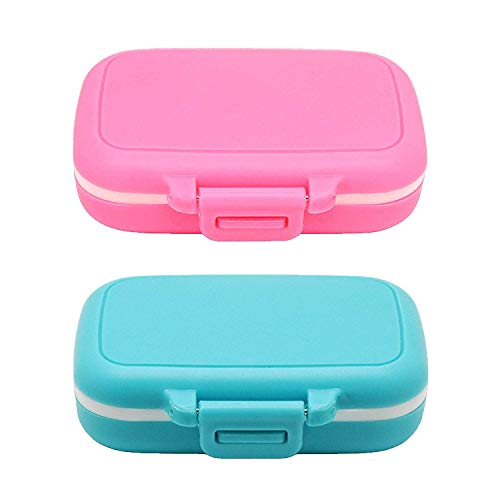 Meta-U Small Pill Box Supplement Case for Pocket or Purse - 3 Removable Compartments Travel Medication Carry Case - Daily Vitamin Organizer Box (Pink+Blue)