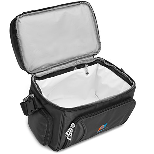 Cooler Bag 12x10x6.5 Inch.Two Insulated Compartments, Heavy Duty Polyester, High Density Insulation (Hot or Cold), 2 Heat Sealed Removable Peva Liner, Many Pockets, Strong Double Zipper