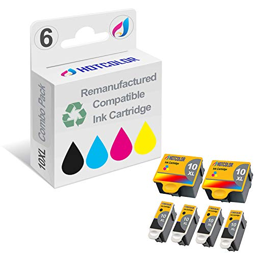 HOTCOLOR Compatible Ink Cartridge Replacements for Kodak #10XL Black Kodak #10 10XL Color (2 Color 4 Black) Work for Kodak 5100 5300 5500 3250 5250 ESP3 ESP5 ESP7 ESP9 Printer