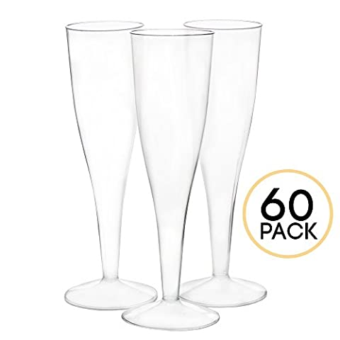 60 Premium Plastic Champagne Flutes - Bulk Champagne Glasses for Wedding or Party