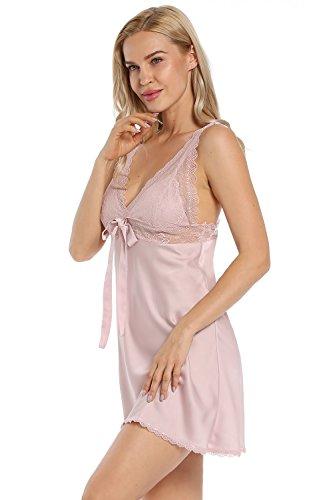 V Pizzo e Donna BellisMira Raso Sexy Rope in Piagiameria Merletto da Serico Profondo Corto Collare Rosa Camicia Notte Xwvwt0nOq