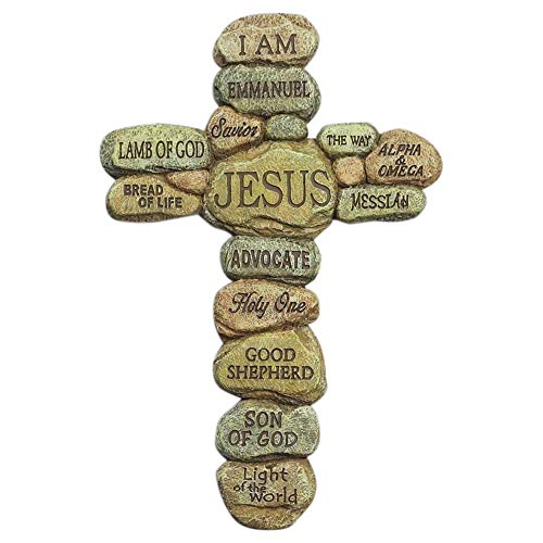 Dicksons Names of Jesus Christ Pebble 10 Inch Resin Decorative Hanging Wall Cross
