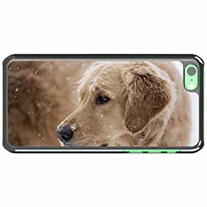 iPhone 5C Black Hardshell Case dog snout snow sadness Desin Images Protector Back Cover