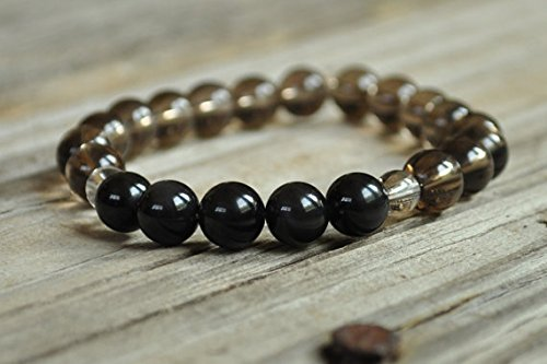 JP_Beads Men's Protection Mala, Obsidian, Smokey Quartz, Base Chakra, Yoga Bracelet, Crystal Healing Bracelet, Meditation Bracelet, Prayer Bracelet ()