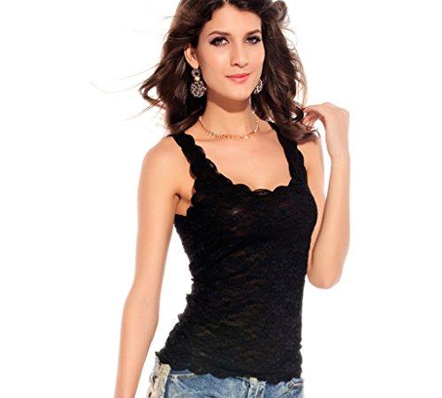 De la Mujer de encaje sin mangas chaleco camiseta de tirantes camiseta de tirantes U-NECK Negro