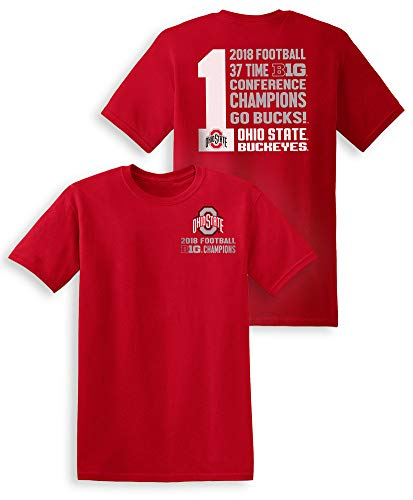 Elite Fan Shop Ohio State Buckeyes Big Ten Champs Tshirt 2018 Left Chest Red - XL -