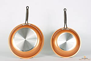 Copper pan 10 Inch + 12 inch set Round Nonstick Pan, As seen on TV