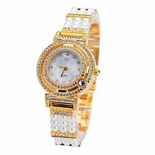 MINILUJIA Womens Quartz Analog Gold-Toned Watch with Beads Crystal Strap Bracelet Clasp Fashion Dress Wrist Watches for Grils and Ladies (Gold)