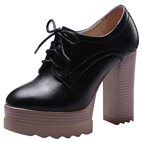 (Jamron Women Vintage High Platform Block Heel Court Shoes Elegant Derby Lace-ups Black SN020119 US7.5)