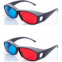 HRINKAR Anaglyph 3D Glasses for Mobile Phone, Computer, Laptop, TV, Magazines and Projector (Red and Cyan) - Pack of 2