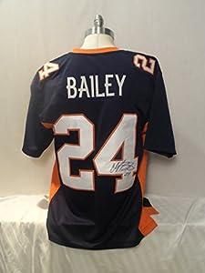 Champ Bailey Signed Denver Broncos Blue Autographed Jersey Novelty Custom Jersey
