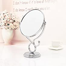 Beauty Mirror Makeup Mirror Magnification Vanity Cosmetic Mirrors with Stand Shaving Mirror,European-Style Flowerpal Princess Mirror Desktop Double-Sided Vanity Mirror,Round 29×19.5Cm