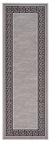 Meander Design Printed Slip Resistant Rubber Back Latex Runner Rug and Area Rugs 5 Color Options Available (Grey, 1'8
