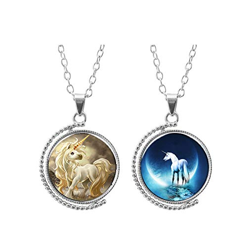 Cute necklace for teen girls boys Unicorn Double Sided Silver Pendants Rotatable children Kids Women]()