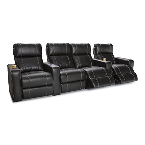 Seatcraft Dynasty Home Theater Seating Bonded Leather Power Recline (Row of 4 with Middle Loveseat, Black) (Gaming Home Entertainment Chair)