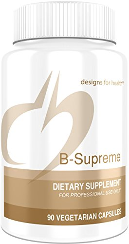 Designs for Health B-Supreme – B Vitamin Complex with B1, B2, B3, B6 + 12, Includes Active Folate, TMG + Choline (90 Capsules)