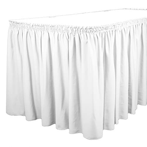 - TableLinensforLess Polyester Table Skirt, Table Height (21 Foot Shirred Pleat, White)