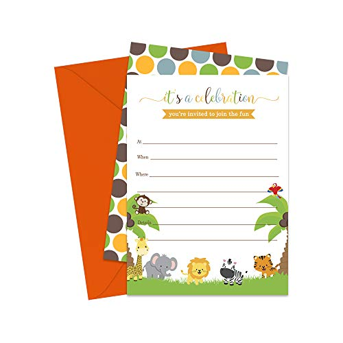 Jungle Invitations and Orange Envelopes - Pack of - Party Invitations Orange