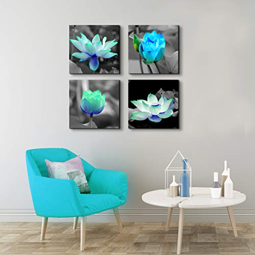 - Artroad Black and White Canvas Print Blue Lotus Flowers Wall Decor Floral Painting Contemporary Salon Theme Pictures Framed Ready to Hang for Bathroom Home Decoration 12x12inches 4pcs/Set