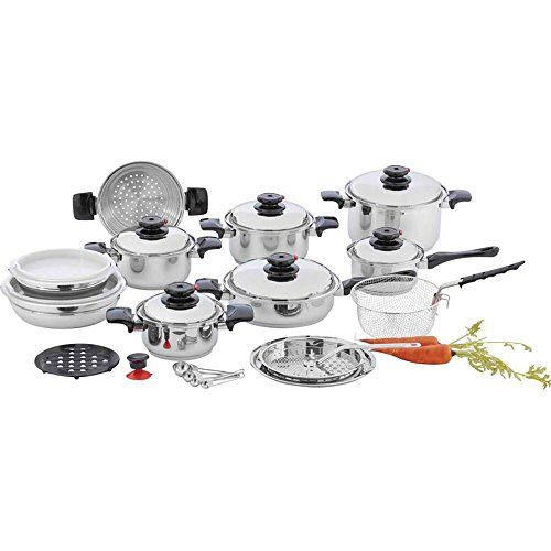Stainless Steel Direct Vent - Chef's Secret 28 Piece 12-Element T304 Stainless Steel Waterless Cookware