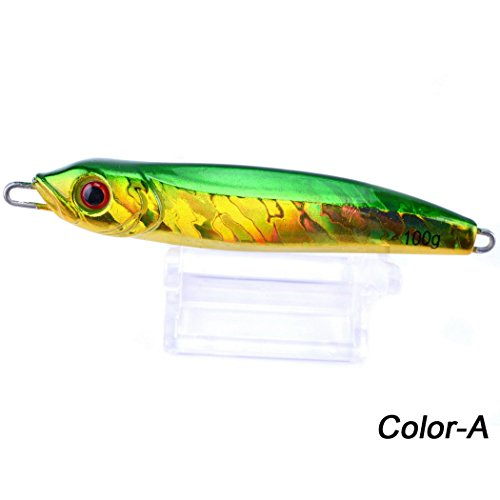 Aorace 100g Metal Slice Fishing Lures Lead Casting Jig lures Laser Body for freshwater saltwater Without Hooks(1 pcs)