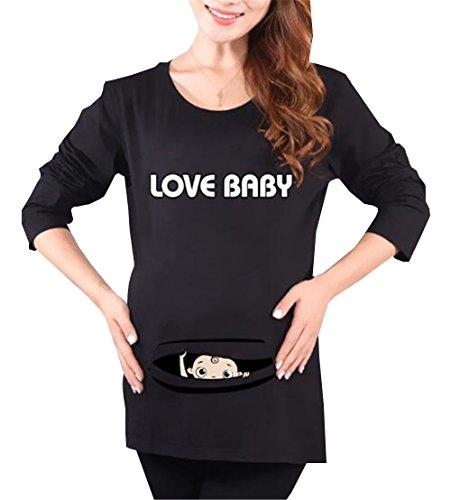 Peeking Stampa Camicie T Bluse Gravidanza Top Girocollo Lunga T Manica Donna Baby Black6 Magliette Divertente Premaman Shirt Shirt Kerlana Pregnancy de Maternity w4Tqn50xP
