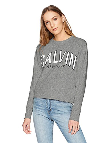 Calvin Klein Jeans Women's Flocked Logo Sweatshirt, Newsprint Heather, S ()