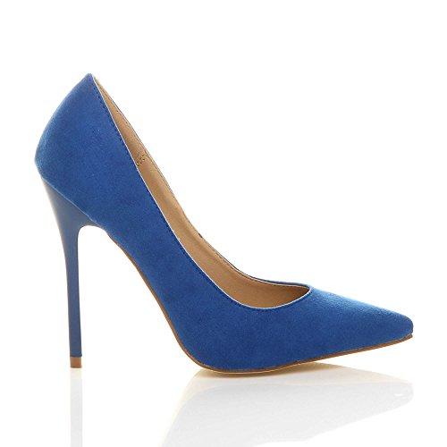 Damen Höher Absatz Kontrast Stilettos High Heels Spitz Gepflegt Fesch Arbeit Pumps Schuhe Königsblau Wildleder
