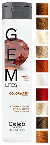 Celeb Luxury Gem Lites Colorwash: Amber Copper Brown, Color Depositing Shampoo, 10 Traditional Colors, Stops Fade in 1 Quick Wash, Cleanse + Color, Sulfate-Free, Cruelty-Free, 100% Vegan