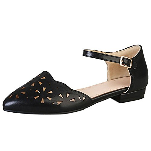 TAOFFEN Mujer Casual Correa de Tobillo Plano Court Zapatos Hueco Sandalias Negro