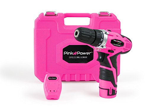 Pink-Power-PP121LI-12V-Cordless-Lithium-Ion-Drill-Driver-Kit-for-Women-Tool-Case-Drill-Set-Battery-Charger
