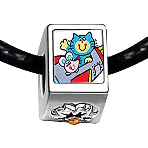Chicforest Silver Plated Cat And Mouse Cartoon Photo Topaz Crystal November Birthstone Flower Charm Beads Fits Pandora Bracelet