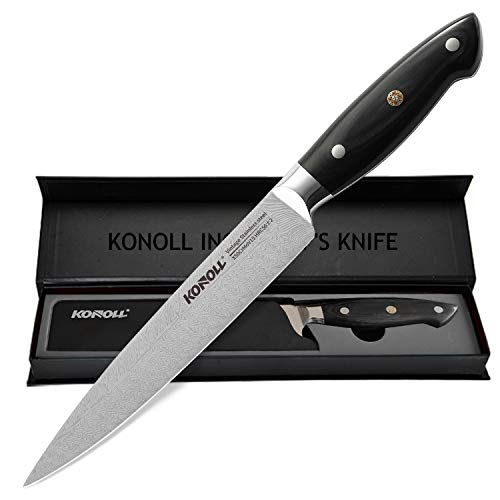 KONOLL Slicing Carving Knife Razor Sharp Sashimi Knife, 8 Inch Nonstick Sushi Knife, High Carbon Stainless Steel Kitchen Knife with Ergonomic Handle