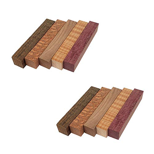 Red Tree Supply Pen Blank Pack: Bocote, Curly Maple, Leopardwood, Purple Heart, Walnut (10 pack)