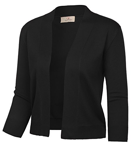 GRACE KARIN Women's 3/4 Sleeve Cardigan Cropped Open Front Knitted Outwear (Black,L)
