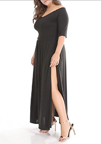 Waist Smocked Black Coolred A Women Long Knitted Oversized Dress Line Split xZfYw4