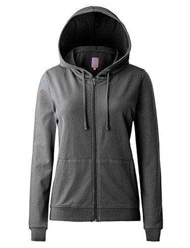 Regna X Women's Long Sleeve Casual Pullover Full Zip Hoodie Grey M by Regna X (Image #1)