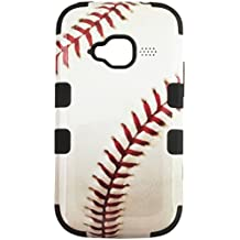 Asmyna Baseball-Sports Collection TUFF Hybrid Phone Protector Cover for ZTE Z730 Concord II - Retail Packaging - Black