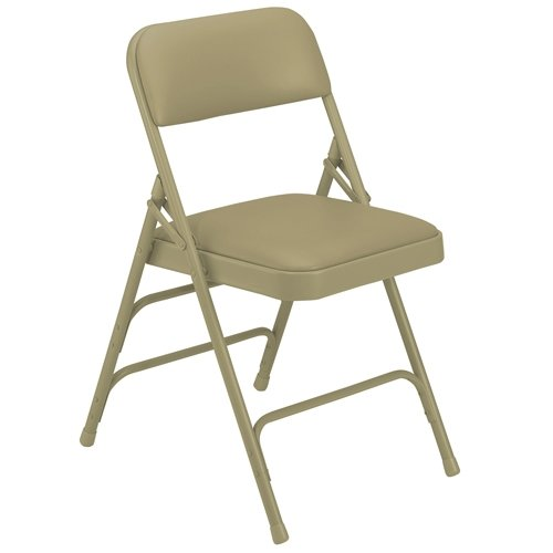 National Public Seating Folding Chairs - 1-1/4'' Thick Vinyl Seat - Triple U-Brace - Beige Vinyl/Beige Frame - Beige Vinyl/Beige Frame - Lot of 4