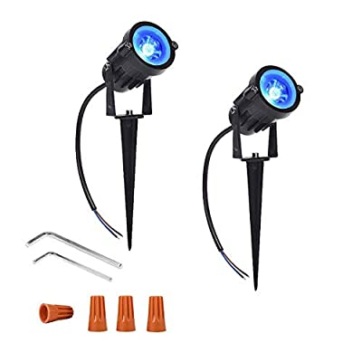 Onerbuy 12V Low Voltage LED Landscape Lights Waterproof Outdoor Walls Trees Flags Spotlights 5W COB Garden Yard Path Lawn Light with Spike Stand, Pack of 2