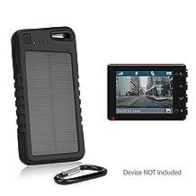 Garmin Dash Cam 55 Battery, BoxWave® [Solar Rejuva PowerPack (5000mAh)] Solar Powered Backup Power Bank for Garmin Dash Cam 55 - Jet Black