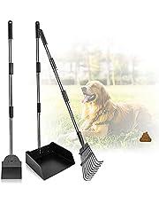 Large Dog Pooper Scooper Set, Dog Poop Scoop with Poop Shovel & Poop Scoop Rake Adjustable Metal Long Handle