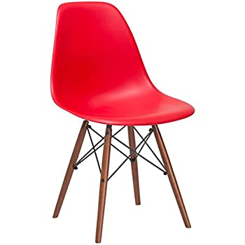 Poly and Bark Vortex Side Chair Walnut Legs, Red