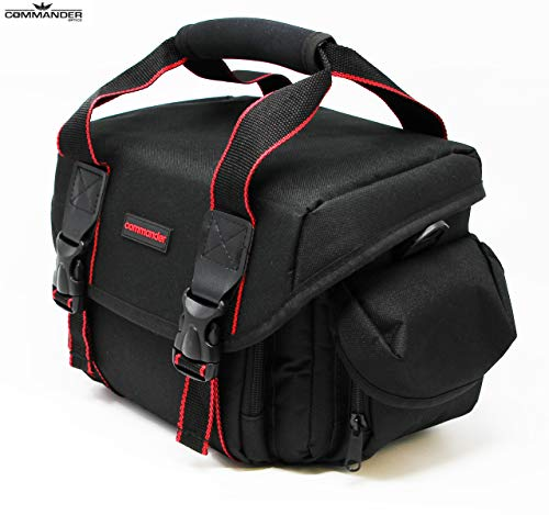 Commander Optics Large Universal DSLR Camera Case Gadget Bag – 11 x 7 x 7 Inches, Black / Red