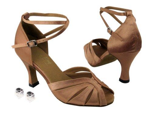 Très Bien Dames Femmes Chaussures De Danse De Salon Ek2713 Avec 2.5 Talon Marron Satin