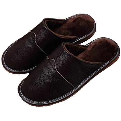 Pocartz Unisexe Qualité Cuir Véritable Maison Pantoufle Maison Intérieure Sandales Plates Chaussures Brun B