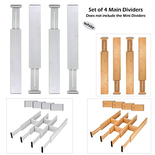 SKATCO Bamboo Drawer Dividers - Spring Adjustable Kitchen Drawer Organizers - Set of 4 Bamboo Kitchen Organizers - Drawer Organizers for the Kitchen, Bedroom, Office, Bathroom - ()